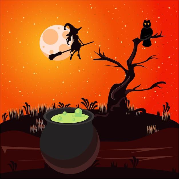 Glückliche halloween-feierkarte mit kessel und hexenfliegen.
