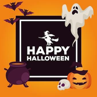 Glückliche halloween-feierkarte mit kessel- und satzikonenquadratrahmen-vektorillustrationsentwurf