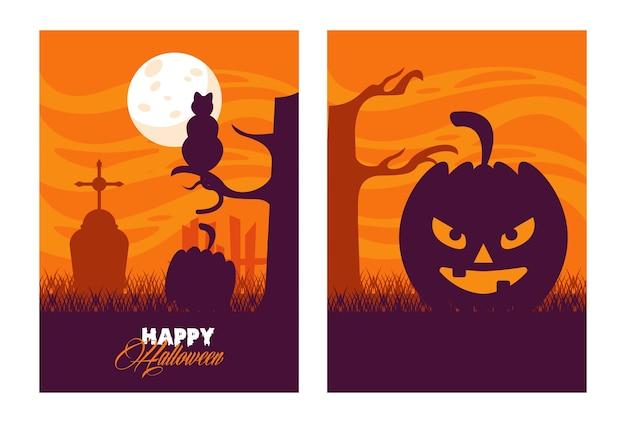 Glückliche halloween-feierkarte mit kürbisgesicht in der friedhofsszene.