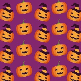 Glückliche halloween-feierkarte mit kürbismustervektorillustrationsentwurf