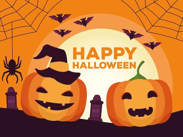 Glückliche halloween-feierkarte mit kürbissen und fledermäusen im friedhofsszenenvektorillustrationsdesign