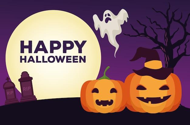 Glückliche halloween-feierkarte mit kürbissen und geistervektorillustrationsentwurf