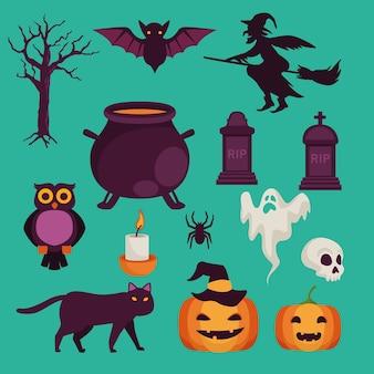 Glückliche halloween-feierkarte mit satzikonenvektorillustrationsentwurf