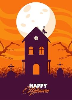 Glückliche halloween-feierkarte mit spukhaus und katze.