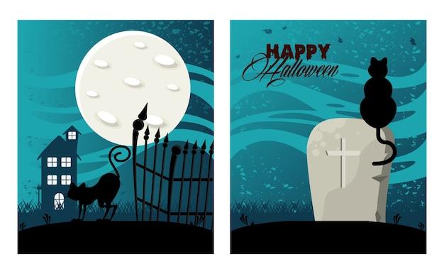 Glückliche halloween-feierkarte mit spukhaus und katzen im friedhof.