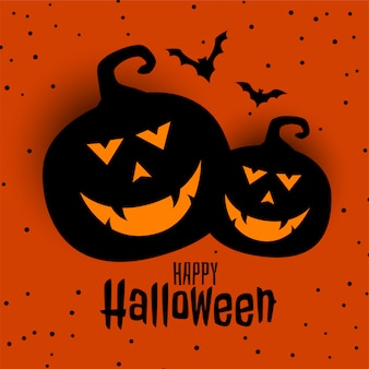 Glückliche halloween-festivalkarte mit zwei kürbis und hieben