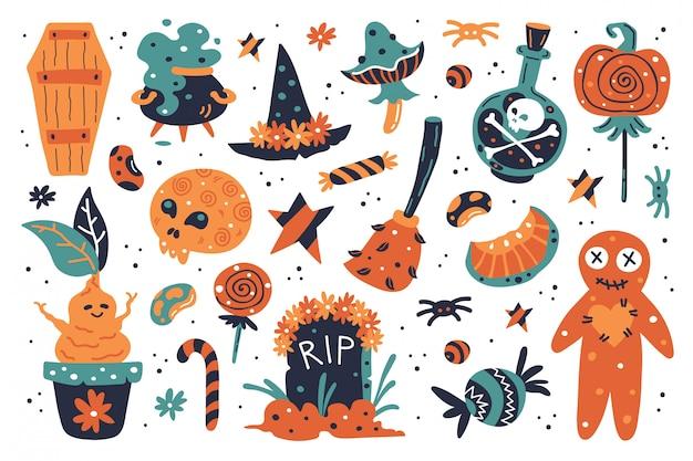 Glückliche halloween-gestaltungselemente. halloween clipart mit hexenhut, kürbis, pilz, besen, grabstein, süßigkeiten, hexenkessel, mond, gift, süßigkeiten, grab, kessel, mandragora, bohnen, sterne.
