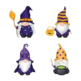 Glückliche halloween-gnome-cartoon-figur isoliert auf weißem hintergrund
