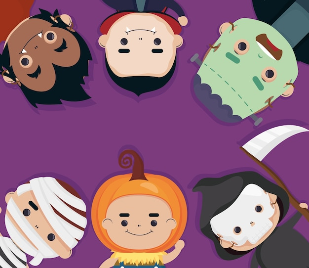 Glückliche halloween-gruppe der niedlichen charaktere herum