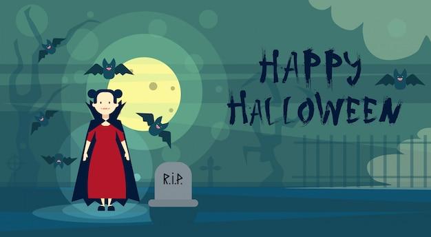 Glückliche halloween-gruß-karte dracula-vampir nachts auf kirchhof-friedhof