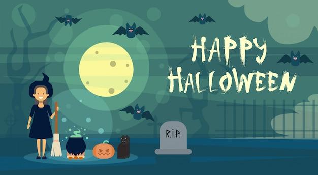 Glückliche halloween-gruß-karten-hexe nachts auf kirchhof-friedhof mit kürbis