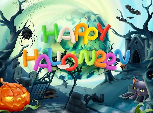 Glückliche halloween-grußkarte mit beschriftung