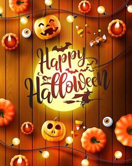 Glückliche halloween-grußkarte mit beschriftungen, geschnitzten kürbisen und dekoration