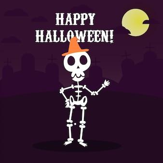 Glückliche halloween-grußkarte mit dem lustigen skelett in der partei