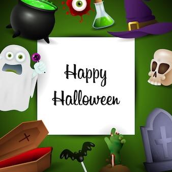 Glückliche halloween-grußkarte mit feiertagssymbolen