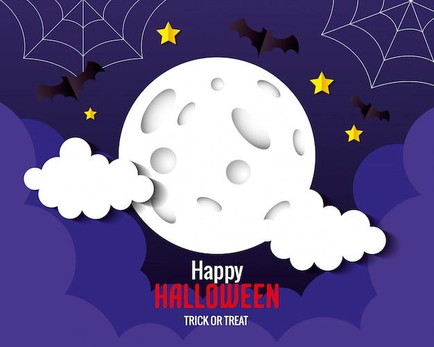 Glückliche halloween-grußkarte, mit fliegenden fledermäusen, vollmond, sternen und wolken papierschnittart