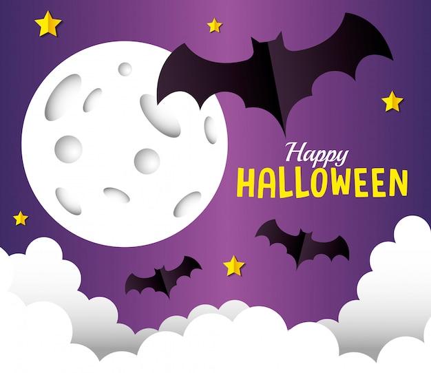 Glückliche halloween-grußkarte, mit fliegenden fledermäusen, vollmond- und wolkenpapierschnittart
