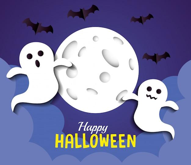 Glückliche halloween-grußkarte, mit geistern, vollmond und fledermäusen, die im papierschnittstil fliegen