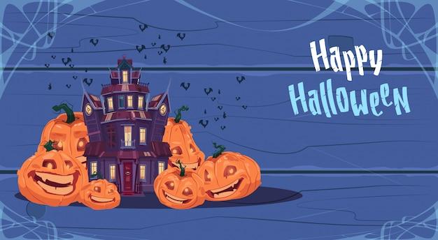 Glückliche halloween-grußkarte mit gotischem schloss und kürbisen
