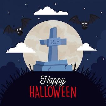 Glückliche halloween-grußkarte mit grabstein, fliegenden fledermäusen und mond