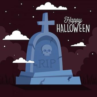 Glückliche halloween-grußkarte mit grabstein in der dunklen nacht