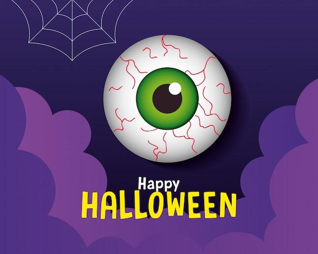 Glückliche halloween-grußkarte, mit gruseligem augapfel im papierschnittstil