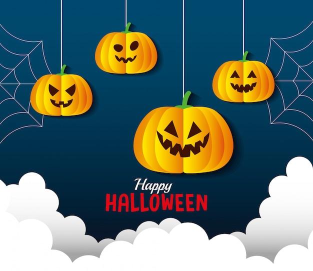 Glückliche halloween-grußkarte, mit hängenden kürbissen und wolken im papierschnittstil