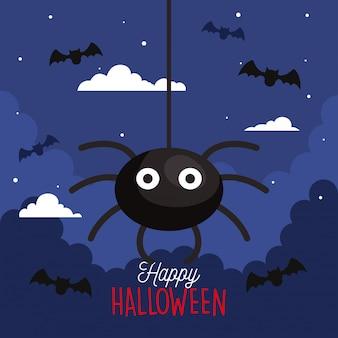 Glückliche halloween-grußkarte mit hängenden spinnen und fliegenden fledermäusen
