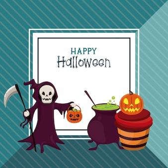 Glückliche halloween-grußkarte mit karikaturen