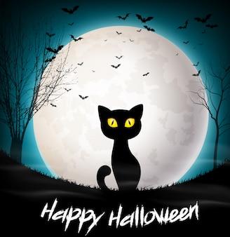 Glückliche halloween-grußkarte mit katze auf dem vollmond