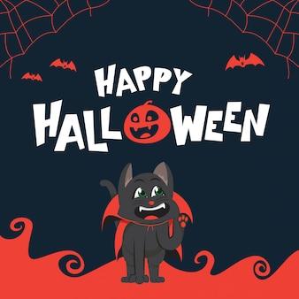 Glückliche halloween-grußkarte mit katze im vampirskostüm