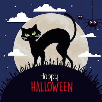 Glückliche halloween-grußkarte mit katze und spinnen in der dunklen nacht