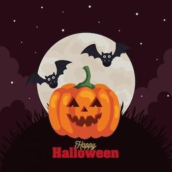 Glückliche halloween-grußkarte mit kürbis, fliegenden fledermäusen und mond in der dunklen nacht Premium Vektoren