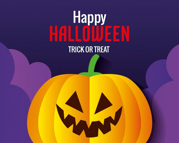 Glückliche halloween-grußkarte, mit kürbis im papierschnittstil