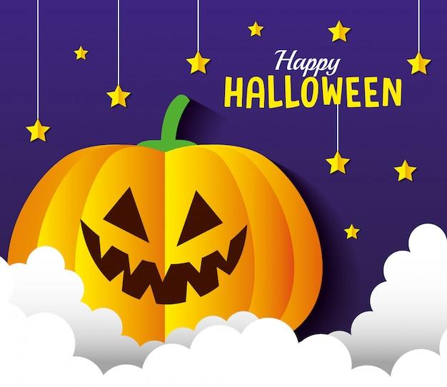 Glückliche halloween-grußkarte, mit kürbis, sternen und wolken im papierschnittstil
