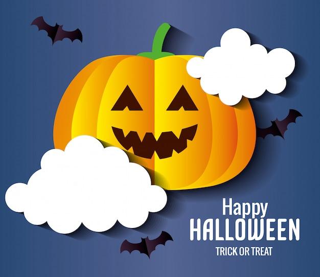 Glückliche halloween-grußkarte, mit kürbis und fledermäusen, die im papierschnittstil fliegen