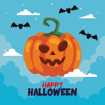 Glückliche halloween-grußkarte mit kürbis und fledermäusen fliegen