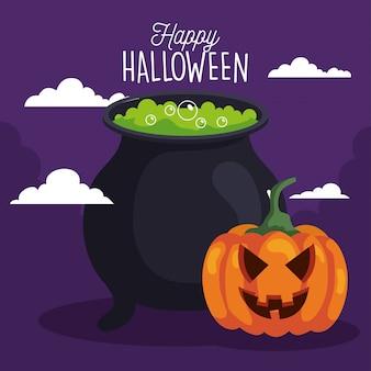 Glückliche halloween-grußkarte mit kürbis und kesselhexe