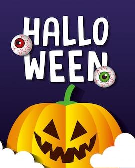 Glückliche halloween-grußkarte, mit kürbis und unheimlichen augäpfeln im papierschnittstil