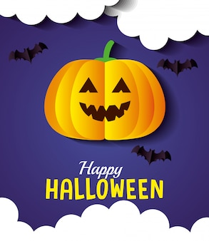 Glückliche halloween-grußkarte, mit kürbis, wolken und fledermäusen, die im papierschnittstil fliegen