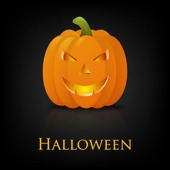 Glückliche halloween-grußkarte mit kürbis