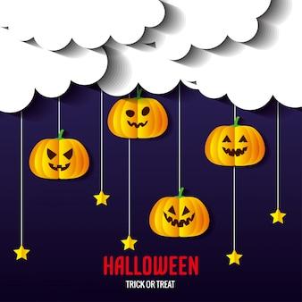 Glückliche halloween-grußkarte, mit kürbissen und sternen, die im papierschnittstil hängen