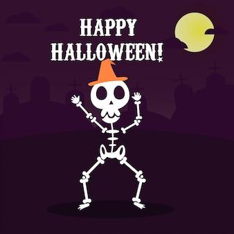 Glückliche halloween-grußkarte mit lustigem skeletttanzen in der partei