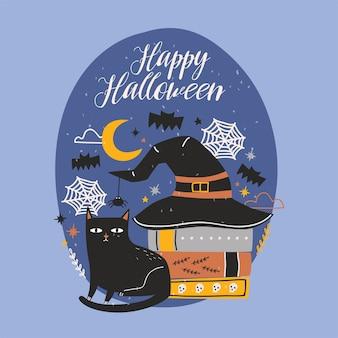 Glückliche halloween-grußkarte mit lustiger schwarzer katze, die neben stapel antiker bücher sitzt, die durch hexenhut gegen nachthimmel, spinnen und fliegende fledermäuse bedeckt sind