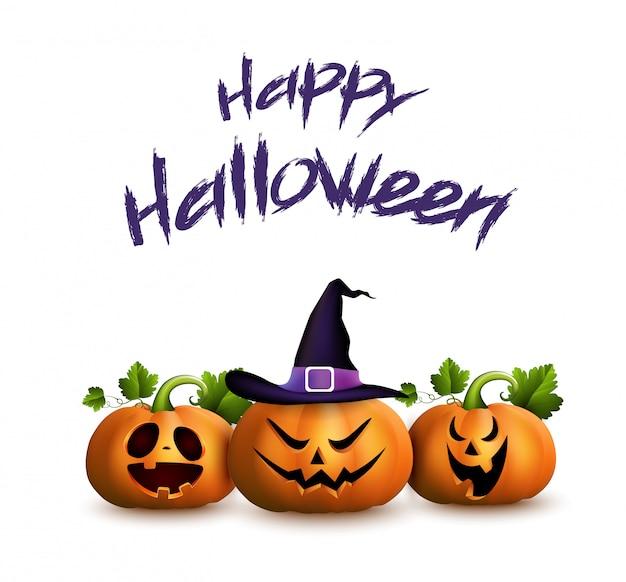 Glückliche halloween-grußkarte mit mit satz karikatur geschnitzten kürbisen