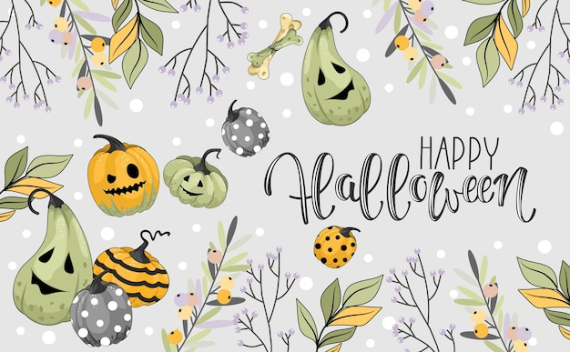 Glückliche halloween-grußkarte mit monstern und kürbissen. handschriftliche kalligraphie. vektorillustration. druck auf stoff, papier, postkarten, einladungen.