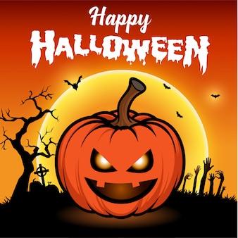 Glückliche halloween-grußkarte mit nacht mit vollmond und furchtsamen kürbisen