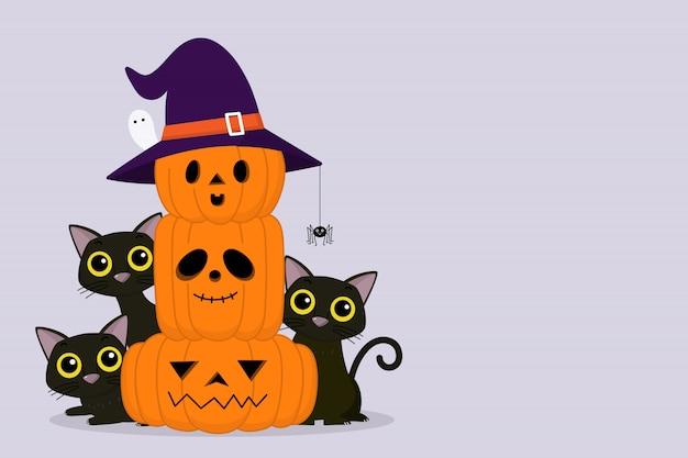 Glückliche halloween-grußkarte mit niedlicher schwarzer katze und gruseligem kürbis tragen hexenhut