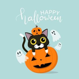 Glückliche halloween-grußkarte mit niedlicher schwarzer katze, unheimlicher kürbis