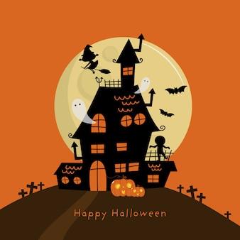 Glückliche halloween-grußkarte mit spukhaus und gruseligem geist.
